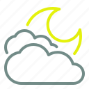 cloud, cloudy, moon, night, weather