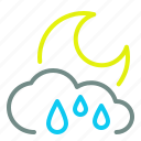 cloud, heavy, moon, night, rain, weather