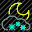 cloud, heavy, moon, night, snow, weather