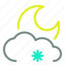 cloud, low, moon, night, snow, weather icon