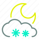 cloud, moderate, moon, night, snow, weather icon