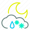 cloud, moon, night, rain, snow, weather icon