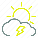 cloud, day, lightning, sun, weather icon