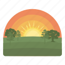 forecast, nature, sunset, forest, glow, weather, sun icon