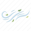 direction, forecast, leaves, nature, weather, wind icon
