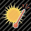 forecast, heat, nature, sun, temperature, thermometer, weather icon