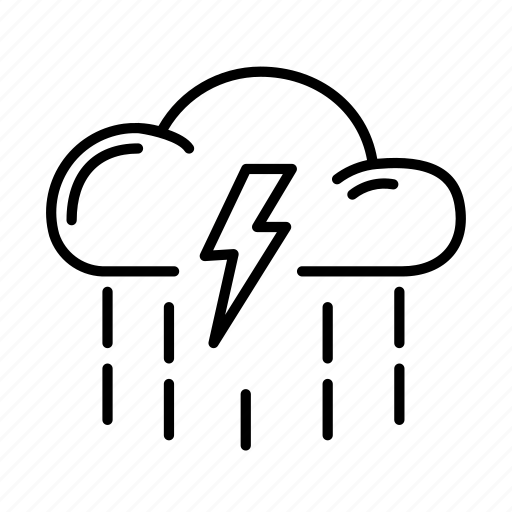 cloud, lightning, rain, thunderstorm, weather icon