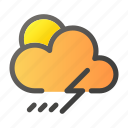 climate, condition, forecast, rain, thunder, weather icon