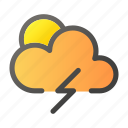 climate, condition, forecast, thunder, weather icon