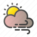 forecast, sun, weather, wind, windy icon