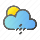 climate, condition, forecast, rain, sun, weather icon