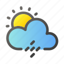 forecast, rain, sun, weather, windy icon
