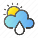 climate, forecast, rain, sun, weather icon