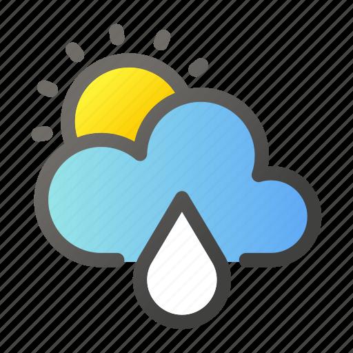 climate, forecast, rain, sun, weather icon