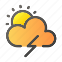forecast, sun, thunder, weather, windy icon