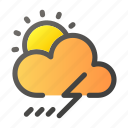 climate, forecast, sun, thunder, weather icon