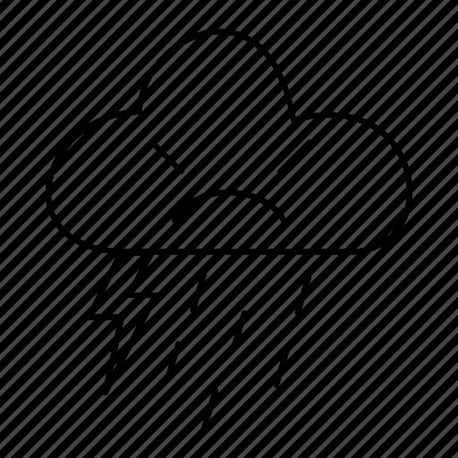 forecast, rain, shower, strom, thunder, weather icon