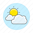 clouds, cloudy, meteorology, partly, sky, sun, sunny, time, weather icon
