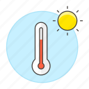heat, high, meteorology, sun, temperature, thermometer, time, weather icon