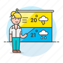 1, female, forecast, forecasting, meteorology, reporter, temperature, time, weather icon