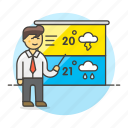 3, forecast, forecasting, male, meteorology, reporter, temperature, time, weather icon