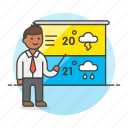 forecast, forecasting, male, meteorology, reporter, temperature, time, weather icon