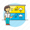 female, forecast, forecasting, meteorology, reporter, temperature, time, weather icon