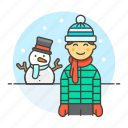 cold, earflap, gloves, hat, male, meteorology, pom, snow, snowman, weather, winter icon