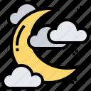 crescent, moon, nighttime, sky, stars
