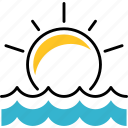 shape, sun, brightness, dawn, sea icon