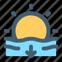 weather, sunset, sun, ocean, sea
