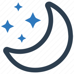 crescent, half moon, moon, night, star icon