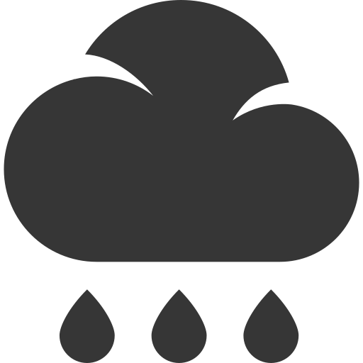 cloud, drops, grey, rain, weather icon