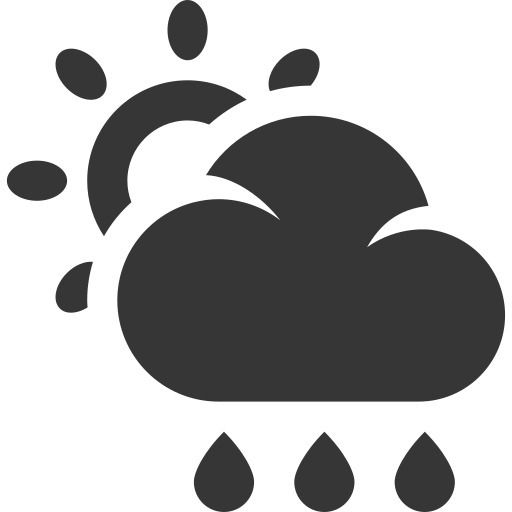 cloud, forecast, grey, rain, sun, weather icon