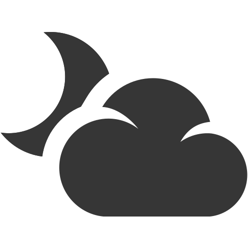 cloud, grey, moon, night, weather icon