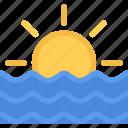 beach, sea, summer, sunlight, sunrise, sunset