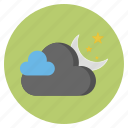 cloud, forecast, moon, nature, stars, weather icon