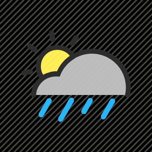 cloud, filled, forecast, line, rain, sun, weather icon