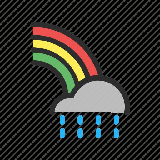 cloud, filled, forecast, line, rain, rainbow, weather icon