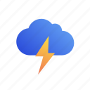 cloud, thunder, weather icon