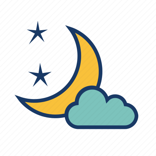 cloud, crescent, moon, moonlight, night, weather icon