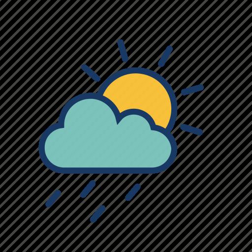 cloud, drizzle, raining, rainy, season, sunshower, weather icon