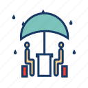 drizzle, meeting, rain, raining, restaurant, umbrella, weather icon