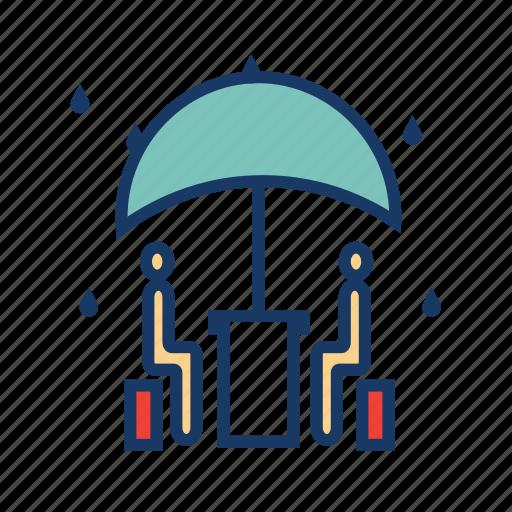 drizzle, meeting, rain, raining, restaurant, umbrella, weather icon