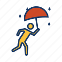 drizzle, escape, rain, raining, run, umbrella, wet icon