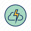 cloud, lightning, rain, storm, thunder, thunderstorm icon
