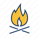 bonfire, campfire, camping, fire, outdoor, travel, winter icon