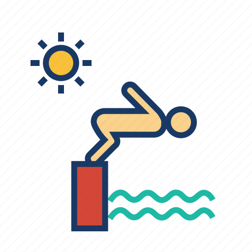 jump, man, sport, summer vacation, swim, swimming, swimming pool icon