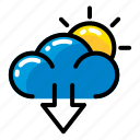cloud, download, sun icon