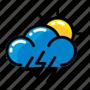 cloud, lightning, sun